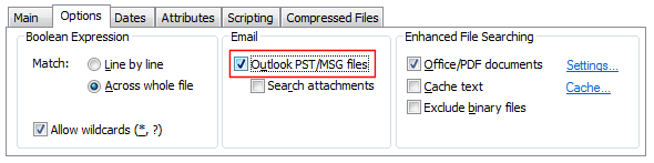 Outlook PST selection